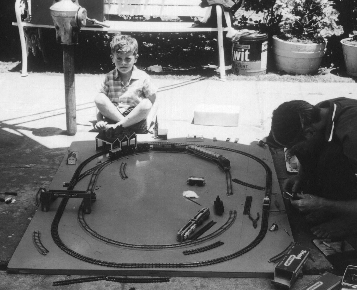 Little Gryphon and his train set. Wollongong - a long time ago!